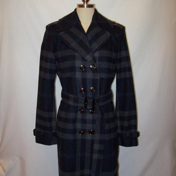 90d9671353879 Burberry Jackets   Blazers - Burberry London Gray Navy Plaid Wool Cashmere  Belt